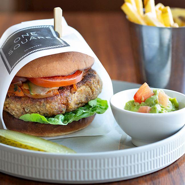 One Square Edinburgh - Aubergine Vegan Burger